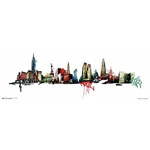 Amazon.com: (12x36) New York City Panorama Graffiti Poster