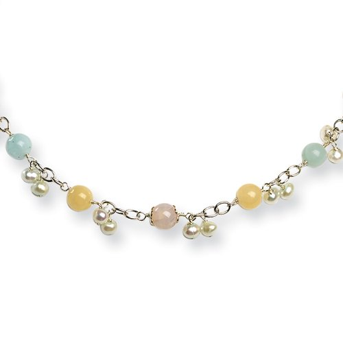 Sterling Silver Chalcedony/Jade/Cultured Pearl Necklace