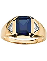 Voylla Synthetic Blue Sapphire Adorned Gold Plated Ring With Diamond Embellishments
