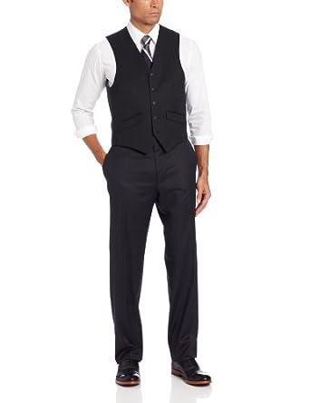 Haggar Men's Solid Suit Separate Vest,  Black, 44 R