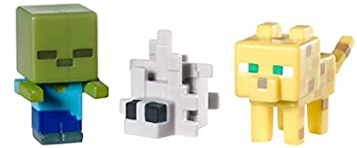 Minecraft Collectible Figures Ocelot, Zombie and Silverfish 3-Pack, Series 2 from Mattel