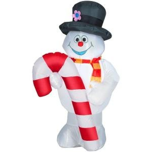 4' Frosty the Snowman  Christmas Candy Cane Airblown