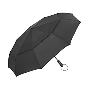 Travel Umbrella - Windproof Compact Umbrella with Double Canopy Construction - Auto Open&Close,Sturdy, Portable and Lightweight + (Black, 45inch)