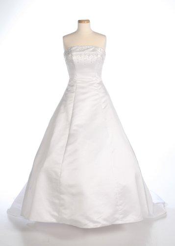 White Satin Strapless Wedding Gown