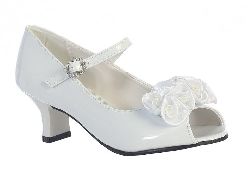 Girls Peep Toe Dress Shoe with Satin Flowers (1, White) (Flower Girl Shoes White compare prices)