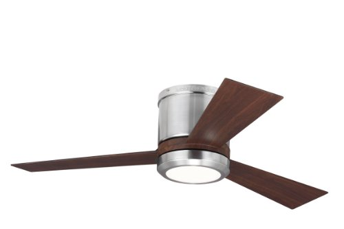 "Monte Carlo Fans 3Clyr42Bsd Clarity Ii - 42"" Ceiling Fan, Brushed Steel Finish With Frosted Acrylic Glass"