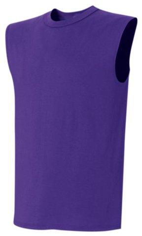 Custom Jersey Knit Sleeveless T-Shirts Jerseys PURPLE A2XL