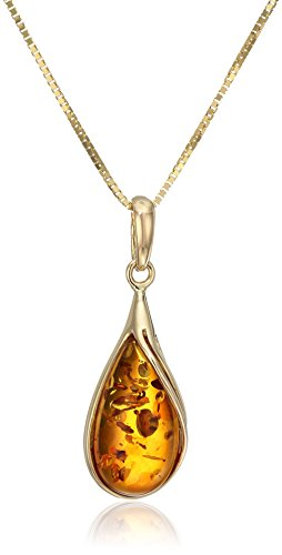 Amber 14k Yellow Gold Drop Pendant Necklace, 18