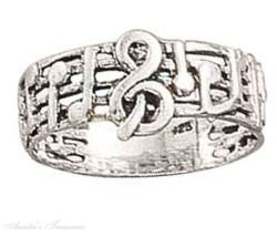 Sterling Silver Treble Clef Music Notes On Music Staff Stave Band Ring Size 4
