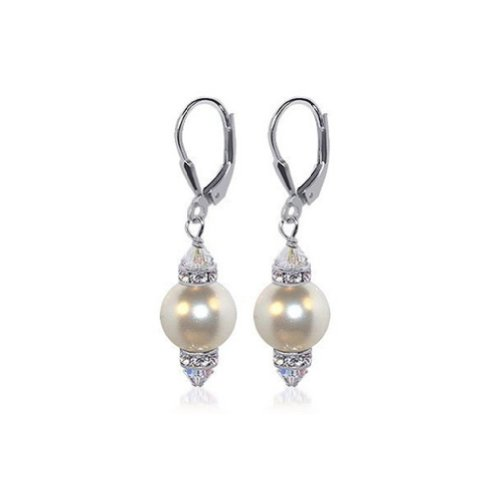 Sterling Silver White Imitation Pearl Crystal 1.5 inch Long  Leverback Drop Earrings Made with Swarovski Elements: Jewelry