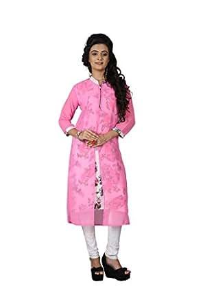 Designer Kurtis Sr 008 Pink F M Clothing Accessories