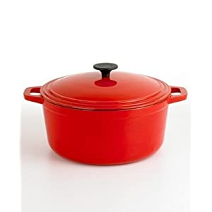 Martha Stewart Collection Red Enameled Cast Iron Round Pot, 7 Qt. Red