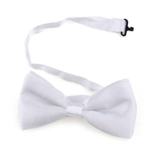 Toptie Mens Formal Solid White Satin Banded Bow Tie