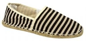 Mens Black / off white striped canvas flat espadrilles pumps NEW
