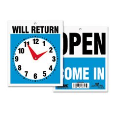 USS9382 - Reversible Open/Will Return Store/Business Sign with Clock Hands (Headline Sign 9382 compare prices)