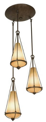 Varaluz 143F03 Two-If-By-Sea 3-Light Foyer Light, Steeplechase Finish with Tea Stained Creamy Glass Shades, 16-Inch by 42-1/2-Inch