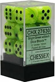 Chessex Dice d6 Sets: Vortex Bright Green with Black – 16mm Six Sided Die (12) Block of Dice