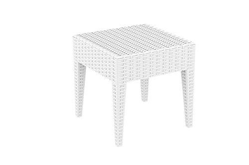 CLP Design Beistell-Tisch MIAMI 45 x 45 cm, Vollkunststoff in Rattan Optik, Farbwahl, stapelbar, UV-, farb- und wasserbeständig weiß kaufen