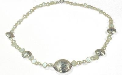 White Pearl and Silver Disc Necklace Made by Survivors
