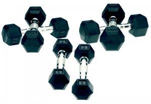 Bremshey Gummi Kurzhantel / Hexa 5 kg (Paar), Hanteln, Gewichtheben Kurzhantel, Softhantel, Fitnesshantel