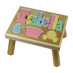 Princess Pastel Puzzle Name Stool- 1-8 Letters color Natural by Ababy