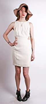 FITTED TANK DRESS WITH SIDE CUT IN CREAM