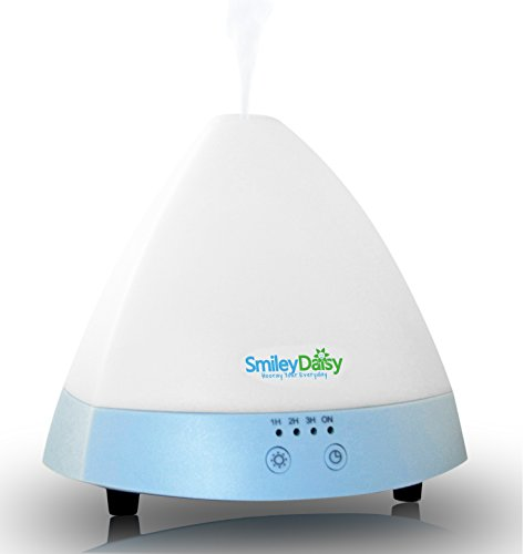 Smiley Daisy Essential Oil Diffuser - Aromatherapy - Cool Mist Mini Humidifier - Energy Saving Quiet Electric Ultrasonic Technology - Best Fragrance Scented Oil Diffuser With 7 Color Changing Led Lamps And 3 Timer Adjustments - Waterless Auto Shut-Off - R