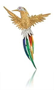 Garavelli Diamond and Ruby 18k Two Tone Gold Multi-colored Enamel Bird Brooch Pin