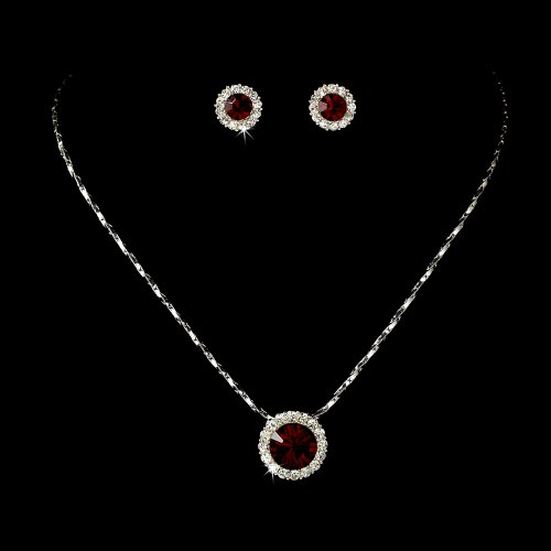 Silver Red Crystal Rhinestone Pendant Bridal Wedding Necklace Earring Set