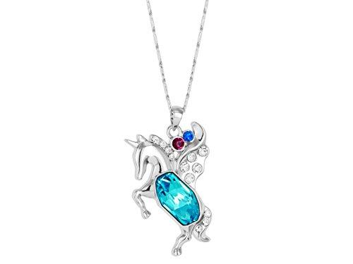 Yparah-Cheval-Cristal-bleu-Collier-avec-pendentif-Incrust-de-cristaux-de-la-Maison-Swarovski-Femme