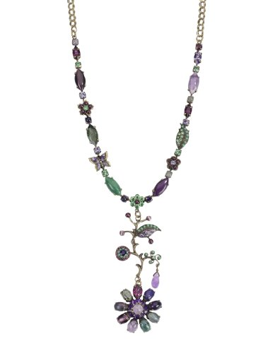 Amaro Jewelry Studio 'Eternity' Collection Necklace with Flower Pendant; All Set with Amethyst, Cape Amethyst, Rainbow Fluorite, Green Aventurine, Labradorite
