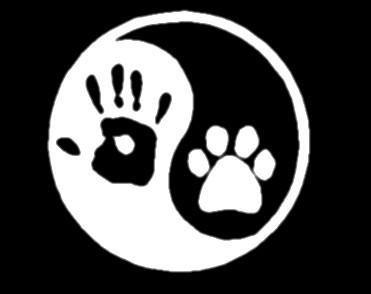 Ying yang human hand dog paw hunter vinyl window decal sticker.
