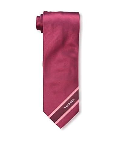 Versace Men's Solid Woven Silk Tie, Red