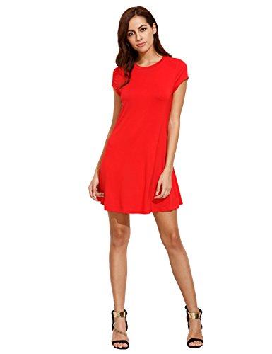 ROMWE Women's Short Sleeve Shirt Casual Swing Dress Red XS