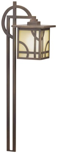 15444Oz Larkin Estate 1Lt Incandescent/Led Hybrid Low Voltage Landscape Path And Spread Light, Olde Bronze Finish And Umber Etched Glass