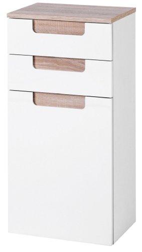 Held Möbel 281.3022 Siena Meuble sous-lavabo à 1 porte 2 tiroirs et 1 étagère Blanc brillant/chêne Sonoma 40 x 79 x 27 cm