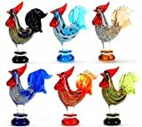 Unison Gifts UGW-7365Z Glass Roosters A, Set of 12 - 3 in.