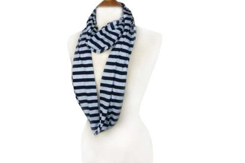 Cape May Stripe Infinity Scarf Loop Style   Wrap   Multi Colors (Navy_Pastele Blue)