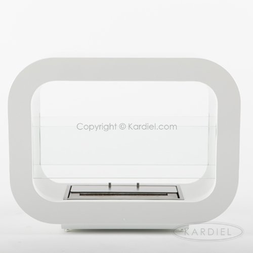 "Ecopyro M8W Shasta Ventless Freestanding Ethanol Fireplace 23.5"", Crystal White"