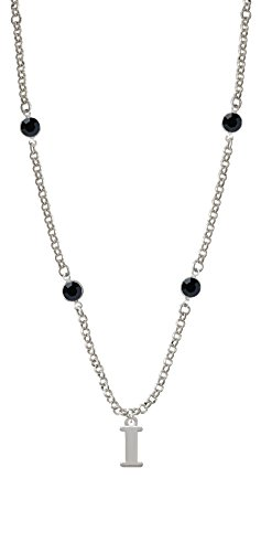 Large Initial - I - Black Crystal Fiona Necklace