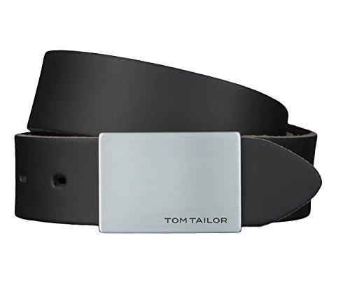 TOM TAILOR Gürtel Ledergürtel Herrengürtel 3,5 cm breit Schwarz 2509, Länge:105 cm;Farbe:Schwarz