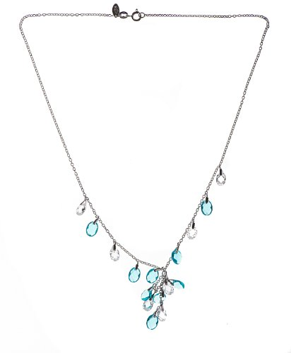 Silver 17 Inches Blue and White Topaz Necklet
