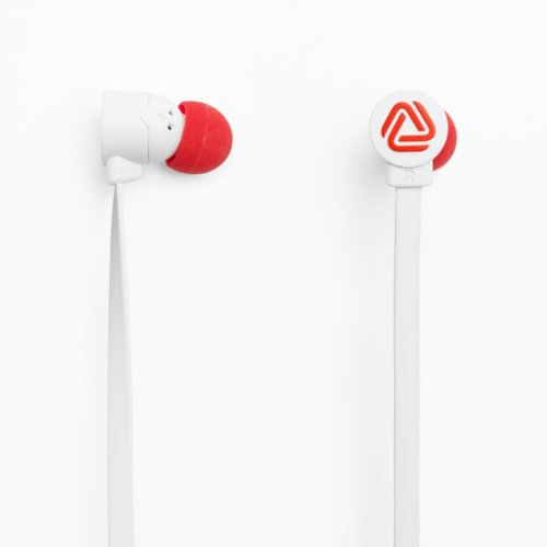 The Pop Blocks White/Red Earphones With Microphone And Remote