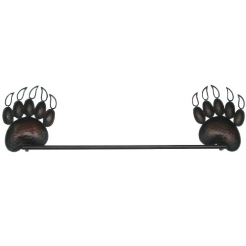 Black Grizzly Bear Bath Towel Bar Holder Rack Rustic Decor