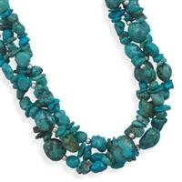 Multistrand Turquoise Necklace, Sterling Silver