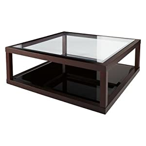 Dark oak frame glass coffee table kitchen for Coffee tables amazon
