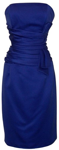 Strapless Satin Sheath Dress Formal Prom Bridesmaid Holiday Party Cocktail Gown, Large, royal
