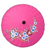 Chinese Japanese Hand Paint Dark Pink Fabric Umbrella Parasol 35""