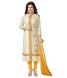 3G9 shop Designer Yellow Colored Heavy Embroidered Georgette Salwar Suit Dupatta Dress Material