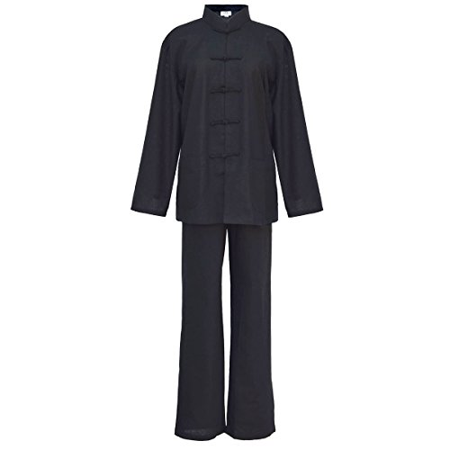 Tai Chi abbigliamento nero cotone e lino per la donna, uniforme Qi Gong e Kung Fu, Abiti da arti marziali taglia M
